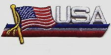 "10 USA / Flag iron-on Embroidered Patches 1.6""x4.5"""