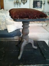 ANTIQUE H D BENTLEY WOOD CAST IRON PIANO STOOL ORIGINAL UPHOLSTERY ADJUSTABLE