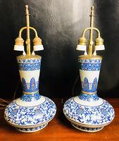 Antique Vintage Pair of Blue Cloisonne Enamel Lamp Vases Oriental Chinese MB19