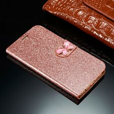 Luxury Bling Leather Magnetic Flip Wallet Card Cover Case For iPhone Samsung G