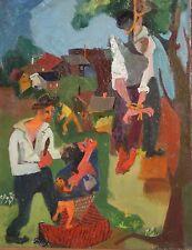 LILLIAN ORLOWSKY-MA, NY WPA Expressionist-Oil/C-HISTORICAL Black Lynching c1940