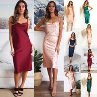Women Polka Dots Strappy Bodycon Midi Dress Slim Evening Party Sexy Wrap Dress