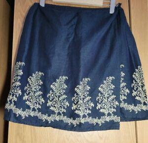 Emanuel Ungaro Liberte short linen wrap skirt UK Size 12/14 US 10 EU 44 black