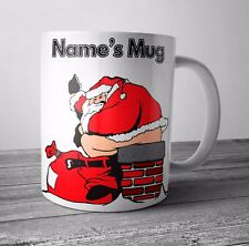 Personalised Mug / Cup - Rude Santa - Christmas Gift / Secret Santa  - Any NAME