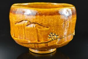 L8494:Japanese Raku-ware Yellow glaze TEA BOWL Green tea tool, auto Tea Ceremony