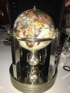 Vintage Alexander Kalifano Rotating Clock Smooth Mother of Pearl Gemstone Globe