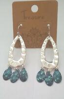 Hammered Silver Tone & Patina Teardrop Dangle Earrings on French Hooks Fashion