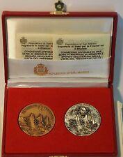 2 medaglie argento bronzo Visita di Cossiga a San Marino 1990 inc. Pomodoro box