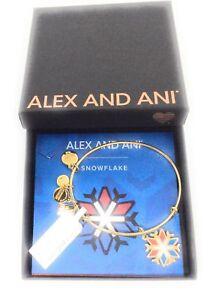 Alex and Ani TEAM USA Snowflake Bangle Bracelet Shiny Gold Finish NWTBC