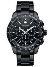 Movado Series 800 Mens Chrono - Black Dial Case and Bracelet, Aluminum Bezel NEW