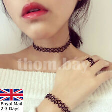 3pcs Tattoo Choker Stretch Necklace Ring Bracelet Retro Vintage Elastic Boho