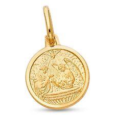 sólido 14k oro amarillo redondo Bautismo Colgante moneda CHARM RELIGIOSO Diseño