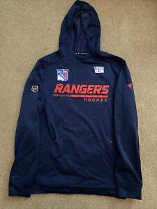 Brendan Smith Player Worn 2021 Blue New York Rangers Hoodie Sweatshirt - COA
