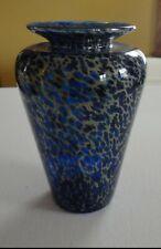 "1992 Mint Fellerman Blown Art Glass 6 1/2"" Blue Tan Pulled Tortoise Shell Vase"