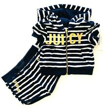 Juicy Couture Infant Girls Sz. 5 2-Piece Blue & White Striped Short Set MSRP $75