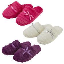 Womens Ladies Slip On Faux Fur Slippers Memory Foam Slides Open Toe Sizes 4-9