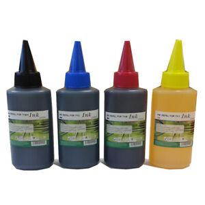 4 x 100ml Printers Refill Ink Bottles Universal Cartridges Canon Epson HP CISS
