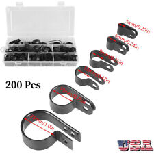 200Pcs Cable Clips P Clip Clamp Assortment Kit for Wire Cable Pipe Nylon Plastic
