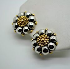 Vintage Modern Classic Designer flower style Two tone Clip Fashion Earrings A48