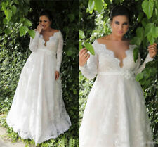 Plus Size Long Sleeve V-Neck  A-line Empire Waist Lace Wedding Dress Bridal Gown