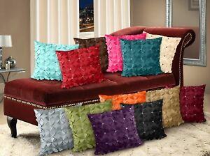 Petal Cushion Covers 3D Effect Diamante Cushions Small Large Faux Silk Covers