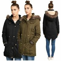 New Womens Long Sleeve Fur Hooded Fish Tail Plus Size Jackets Coats 10-26