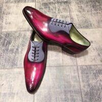 Handmade Men's Leather Burgundy Patina lace up Oxfords Custom men dress shoes