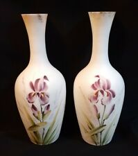 "New ListingPair Hand Painted Satin White Art Glass Vases Flower Purple Irises 9"" Beautiful"
