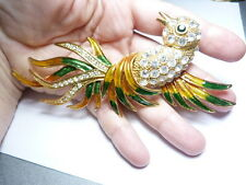 Huge Topaz Green Enamel Clear Rhinestone Bird Brooch Gold Tone Metal Vintage