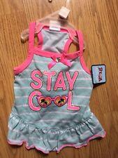 "SIMPLY WAG Aqua Summer DRESS 'STAY COOL"" Sunglasses Palm Trees Puppy/Dog SMALL"