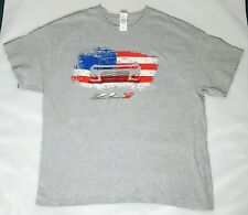 Gildan Mens t-shirts CHEVROLET Car American Flag /Gray/Short Sleeve100%Cotton XL