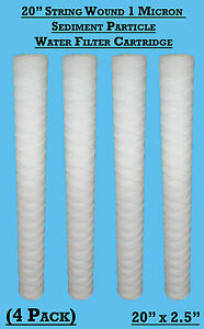 "4  x 20"" 1mic String Wound YarnSediment Water Filter Cartridge 1 Micron"