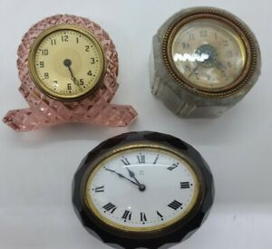 Antique Lot of 3 Glass Victorian Paperweight Desk Clocks, Germany, USA, Etc.