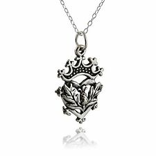 Scottish Luckenbooth Necklace - 925 Sterling Silver Pendant Heart Crown Thistle