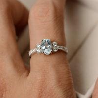 14K White Gold 1.70 Ct Oval Cut Natural Diamond Real Aquamarine Ring Size O
