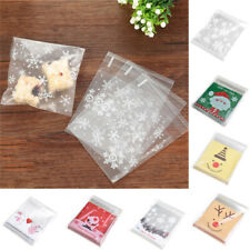 100Pcs Self Adhesive Christmas Cellophane Bags Party Bakery Cookie Candy Bag