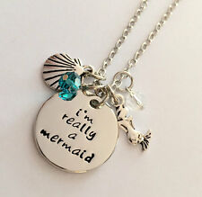 """Mermaid necklace """"I am really a mermaid"""" necklace jewelry crystals From USA"""