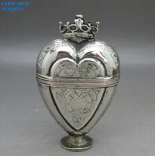 ANTIQUE RARE 18thC SCANDINAVIAN SOLID SILVER HEART SHAPED BOX 7.2CM HIGH c1780