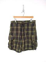 Vintage Polo Ralph Lauren Shorts Men Size 35 Cargo Cotton Green Blue Plaid