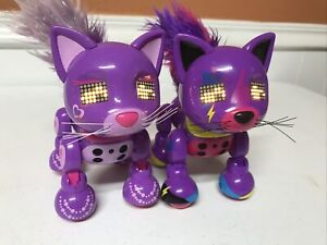 2x Spin Master Working 2016 Zoomer Meowzies Interactive Purple Cats Kittens Lot