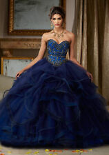 Navy Blue Quinceanera Dress Luxury Beading Ball Gown Prom Pageant Party Dresses