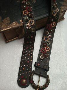 """NANNI leather belt size 38"""" / 95 cm Iconic vintage 80s rhinestones studded"""