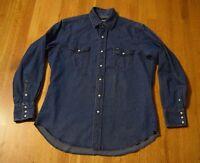Vintage Wrangler Pearl Snap Denim Shirt Western Cut Men's Large Blue Jean