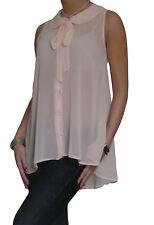 NEU Bluse Shirt Tops Chiffon Lang Locker Schwarz Damen Oberteil Größe 10 12 14