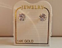 .50 CTS ROUND FLAWLESS MAN MADE DIAMOND STUD EARRINGS 14K SOLID YELLOW GOLD