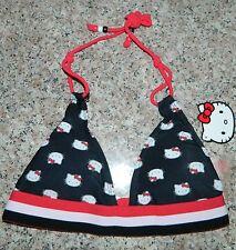 NWT SANRIO HELLO KITTY Black Red White BIKINI Swim TOP* Juniors S Small  NEW