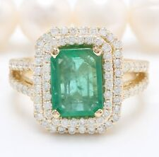 5.45 Quilate Natural Esmeralda Diamantes en 14K Oro Amarillo Macizo Mujer Anillo