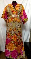 Vtg Hilo Hattie By Evelyn Margolis Floral Maxi Dress Hawaiian Sz 12 Aloha Hawaii