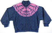 Vintage 80s 90s Paisly Floral Plaid Pink Blue Windbreaker Nylon Bomber Jacket L
