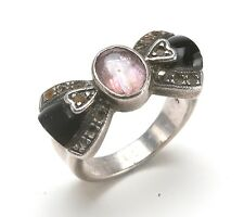 Very Interesting & Unusual Silver 925 Women's Ring W/ Amethyst & Agate. Size 6,5